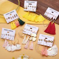 Kimter Bohemian Drop Dangle Tassel Earrings Set for Women Jewelry Pendant Earring Fashion Accessories Birthday Party Gift M498A F