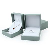 نغمة زرقاء كبيرة حلقة مربع أبيض إدراج جلدية كاذبة المجوهرات خواتم قلادة القلائد تغليف علب الهدايا عرض المجوهرات مربع حامل