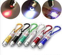 LED 미니 손전등 알루미늄 합금 토치 카라비너로 3 IN1 링 키 체인 레드 UV 레이저 빔 포인터 펜 열쇠 고리 조명