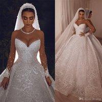 2020 Árbol Vintage Vestidos de novia Cristales Sheer Sheer Manga Larga Cordón Bola Bola Vestido De Novia Vestido Nupcial
