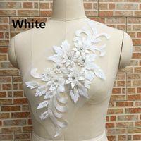 39.5cm * 19cm 꽃 embroiderey nornions trims 진주 구슬 레이스 아플리케 웨딩 드레스 패브릭 DIY 재봉예 LP004