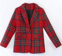 Femme Spring and Automne Han Version Nouvelle Boutique Spécial Personnalité Européenne et Américaine Tendance Fashion Mode Plaid Blazer / M-2XL