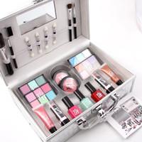 Fröken Rose Makeup Set Box Nail Polish Matt Läppstift Läppglans Blush Eye Shadow Borste Aluminium Box