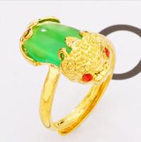 Chapado en oro de la piedra preciosa Pixiu Suerte Anillo Riqueza Símbolo de Feng Shui Pareja anillo ajustable