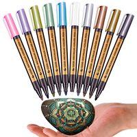 10 قطعة / الوحدة 10 ألوان معدنية الطلاء المياه الدائمة ماركر القلم ل بطاقة هدية عيد السيراميك الزجاج البلاستيك ورقة اللون ماركر