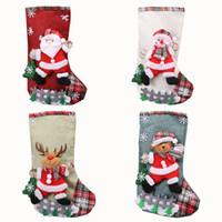 Los titulares grandes medias de Navidad muñeco de nieve de Santa reno media de caramelo bolsa de regalo de Navidad Decoración de fiesta de accesorios JK1910