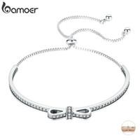 BAMOER alta calidad 925 Bowknot claras pulseras de los brazaletes de circón cúbico para las mujeres joyería de plata esterlina SCB108 LY191217