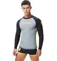Защита от ультрафиолетовых лучей Swim Рубашка Rashguard Мужчины Купальники с длинным рукавом Surf Rash Guard Mens Серфинг Плавание Дайвинг Tshirt Спортивный костюм Погружение Wetsuit # X9K