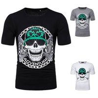 Camiseta de hombre Skull Hip Hop Camiseta de manga corta Camiseta de verano Hombre de los hombres Divertido Blanco Negro Gris Camisetas Heavy Metal Hombre J190721