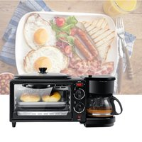 Haushaltselektro 3 in 1 Frühstück, die Maschine Multifunktionsmini-Drip Kaffeemaschine Brot Pizza Bratpfanne Toaster