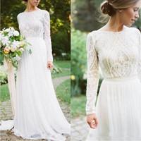 2020 Land Bohemian Brautkleider SpitzeApplique Ausgebogte Brautkleider mit langen Ärmeln Sweep Zug Boho A Line Brautkleider robe de mariée