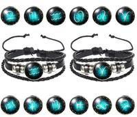 Nuovo unisex coreano 12 costellazioni cinturino in pelle di moda braccialetto zodiaco creativo libero di trasporto