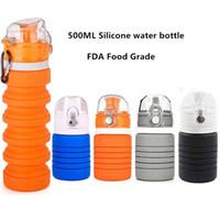500 ml 17 unze faltbare silikon wasserflasche einziehbare falten reise trinken sport wasserflasche fda lebensmittelqualität silikon flasche tassen tassen