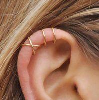 5 قطعة / المجموعة أزياء الأذن الأذواق الذهب ورقة الأذن صفعة كليب أقراط للنساء المتسلقون لا ثقب حلق الغضروف وهمية