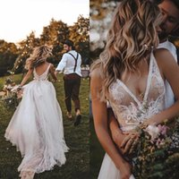 Sexy Dentelle Deep Vec Cou Backless Beach Robe De Mariage Balayer Train Tulle Sans Manches Boho Robes mariée Mer Robe Mer