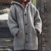 Lipswag 5XL Vintage Gevşek Cep Hırkalar Kazaklar Kadınlar Sonbahar Kış Uzun Kollu Düğme Triko Casual Artı boyutu Coat Kadın V191130
