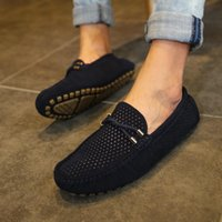 Mens Loafers Leder Mode Herren-Sommer-Schuhe Slip-On Driving Schuh-Breathable Men Casual Sepatu Kulit Pria c30