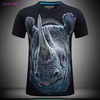 Black Mens T Shirts Mode Bomull 3d T-shirt Män Hip Hop Men T-shirt Casual Topps Fitness Printing Big Rhino