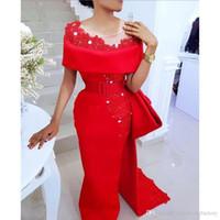 Saudita Árabe Vermelho Vestidos de Noite Sheer Neck Bow Sash Lace Applique Frisado Pérolas Bainha De Cetim Lado Dividir Africano Festa Formal Vestidos De Baile E03