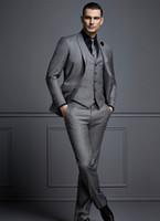 Sexy Dark Grey Mens Suit New Fashion Sexy Groom Suit Simili da sposa per i migliori uomini Slim fit Groom smokings per uomo (giacca + gilet + pantaloni)