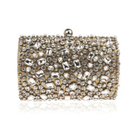 2019  Clutch chain bag woman Lady wedding diamond crystal Bling Gold Silver Party purse cell phone pocket wallet Handbags