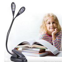 كليب الصمام ضوء الكتاب الضوء مزدوج 4leds رئيس بطاريات USB قوة محمولة قابلة للطي ليلة حامل ضوء مصباح القراءة كليب الموسيقى