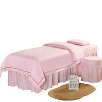 4 قطع عالية الجودة التجميل صالون الفراش مجموعات تدليك سبا سميكة بياضات السرير أغطية السرير التدليك سبا وسادة حاف غطاء مجموعة