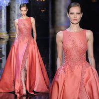 Elie Saab Haute Couture Vestidos longos 2020 Coral Jewel Neck Lace Top Side Slit A Linha Pearls até o chão Prom Dresses com bolso