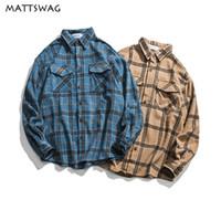 Мужские повседневные рубашки Mattswag большие клетки мужские рубашки осень старинные платья 2021 кнопка для мужчин / женщин с длинным рукавом улиц