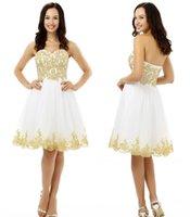 Todos Tamaño mejor blanco vestido de fiesta vestidos de una línea de vestidos de cóctel Mini Sweetheart apliques de encaje con cuentas sin respaldo Tamaño más vestidos de partido HY379