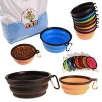 De silicona del gato del perro plegable plato de alimentación cuenco de agua para mascotas alimentador de viaje plegables Copas PET con gancho 7 colores