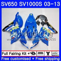 Kropp för SUZUKI SV650 SV1000S SV650S 03 04 05 06 07 08 308HM.7 SV 650s 1000 S 1000S Stock Rizla Blue 2003 2004 2005 2006 2007 2008 FAIRING