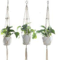Macrame Plant Hangers Outdoor Indoor Wall Hanging Planter Net Basket Flower Pot Holder Vintage Novelty Home Decor Gift 105cm