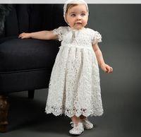 Baby Mädchen Party Kleider Kinder Spitze hohlen häkeln Stickerei Kleid 1 Jahre Baby Geburtstag Ballkleid Kleinkinder Taufe Kleid mit Hüten A01555