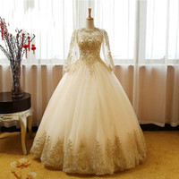 2019 New Long Sleeve Gold Appliques Lace Ball Gown Quinceane...