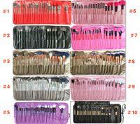 24шт / набор 10 цветов Профессиональные кисти для макияжа портативные полные косметики макияж кисти инструмент фонда теней для теней для губ с PU BAG