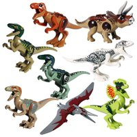 8 pcs Jurassic Dinosaur World T-Rex Raptor Triceratops Figura brinquedo para Boy Big Size Building Blocks