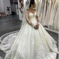 2020 Luxurious Crystal Beaded Wedding Dress 3D Lace Floral A...