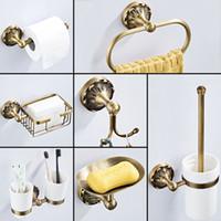 Banho antigo conjunto de acessórios Bronze Rolo do papel higiénico titular Banho Duche Saboneteira gancho Robe WC Brush Holder anel de toalha