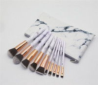 10pcs set Marble Makeup Brushes Blush Powder Eyebrow Eyeline...
