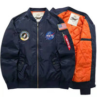 mens designer thick winter jackets NASA Air Force One bomber...