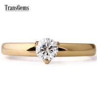 Transgems 14 كيلو الذهب الأصفر خاتم الخطوبة مركز 0.4 قيراط قطرها 4.5 ملليمتر f اللون المويسانتي الدائري للنساء الزفاف Y19032201