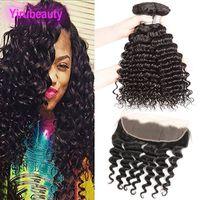 Бразильские человеческие волосы 3 пакета с 13x4 кружевной фронтальной предварительно сорванной глубокой волной вьющиеся 4 штуки / гораздо девственница волос 95-100 г / шт.