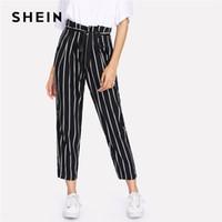 Shein Öz Kemer Çizgili Pantolon Kadınlar moda giyim Yüksek Bel Fermuar Pantolon 2018 İlkbahar Yeni Casual Havuç Pantolon
