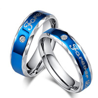 Stainless Steel Blue Engagement Ring Forever Love Letter Jew...