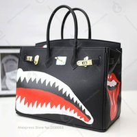 with rock lips Women Genuine Leather Handbags Hand- Painting ...
