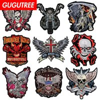GUGUTREE embroidery big eagle skull wings wolf tiger patch a...