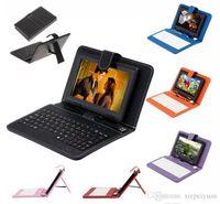 """Q88 7 """"Android 4.4 8GB Tablet PC A33 Quad Câmera Dual 512MB Capacitive Wifi Tablet Punter 7"""" Capa de Teclado de Couro USB"""