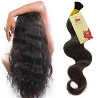 Cabelo humano para micro tranças Cabelo brasileiro para tranças 3 pcs Nenhum cabelo a granel molhado e ondulado para trança