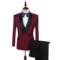 Şarap Kırmızı Erkekler Takım Elbise Baskılı Bordo Desen Düğün Takımları Damat Damat Custom Made Smokin Blazer Slim Fit Casual En İyi Adam Balo 2 Adet